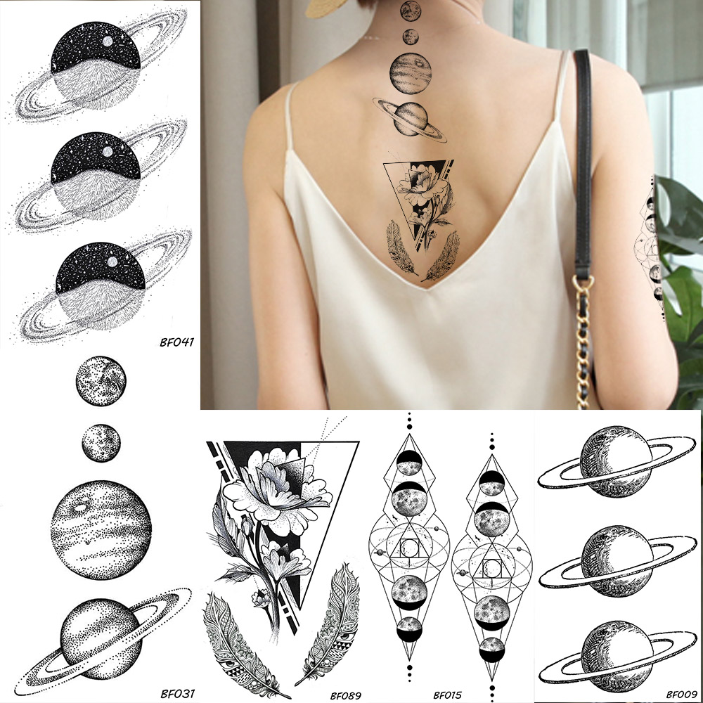 BAOFULI Women Galaxy Planets Temporary Tattoo Black Flower Feather Waterproof Fake Tatoos Body Art Arm Sleeve Tattoo Stickers