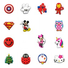 50pcs Mickey Avenger LED Shoe Charms Doraemon Ladybug Lighted Shoe Buckles Accessories Fit Bracelets Shoes Croc JIBZ Kids Gift 16pcs mickey minnie pvc shoe charms shoe accessories shoe buckle for wristbands croc kids favor gift
