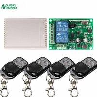 Interruptor de Control remoto inalámbrico Universal, 433 Mhz, CA, 85V, 250V, receptor de 2 canales, RF, 433 Mhz, 4 teclas de Control remoto