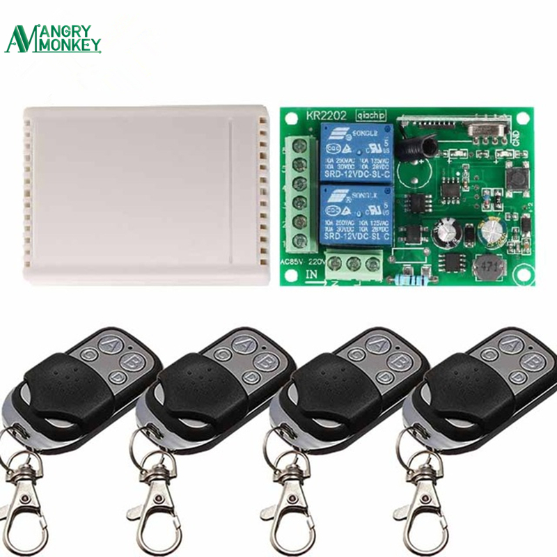 433Mhz Universal Wireless Remote Control Switch AC 85V 250V 2 Channel Receiver Switch and RF 433 Mhz 4 Keys Remote Control