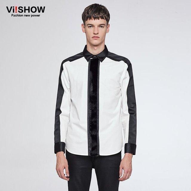 2dc8f8ff7f8e VIISHOW AUTOMNE Style Chemise blanche Hommes 100% Coton Camisa Slim Fit  Marque Vêtements À Manches