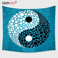 Cutom Tapestry Wall Hanging,Ying Yang Decor Dots Design Abstract Water and Pebbles Ying Yang Asian Zen Meditation Theme Blue