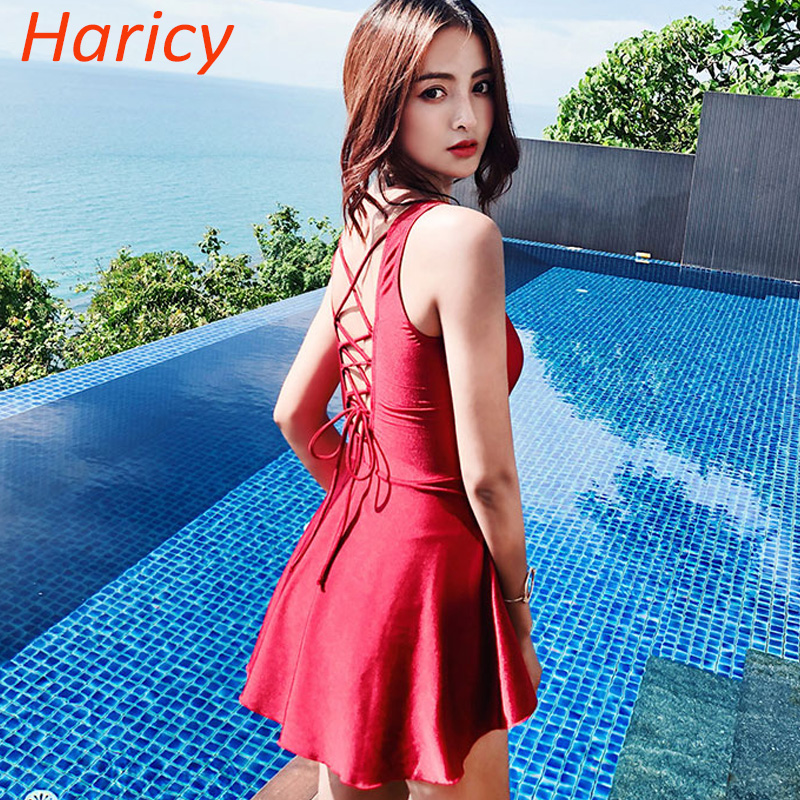 2018 Women Dress Red Bandage One Piece Swimwear Swimsuit Sexy Push Up Swim Bodysuits Bathing Suit Monokini Skirt