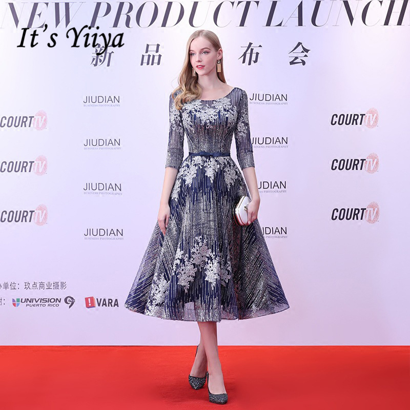 It's Yiiya Elegant Evening Dresses O-Neck Half Sleeve Sashes Bow Flowers Fashion Designer 2018 Formal Dress For Party LX760