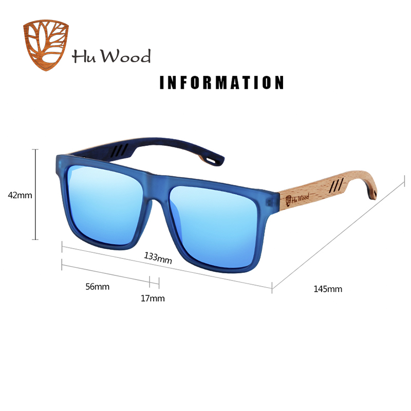 Image 5 - Hu Wood  2018 New High Quality Square Sunglasses Men Polarized UV400 Fashion Sunglass Mirror Sport sun glasses  Driving oculos-in Men's Sunglasses from Apparel Accessories