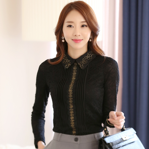 06caff8eee0 Combuy==>> Blouse Shirt Woman Blouses Chiffon Blouse Shirts Autumn and  Winter Korean Doll Collar Long Sleeve Lace Hollow Out Shirt Clothes-in  Blouses ...