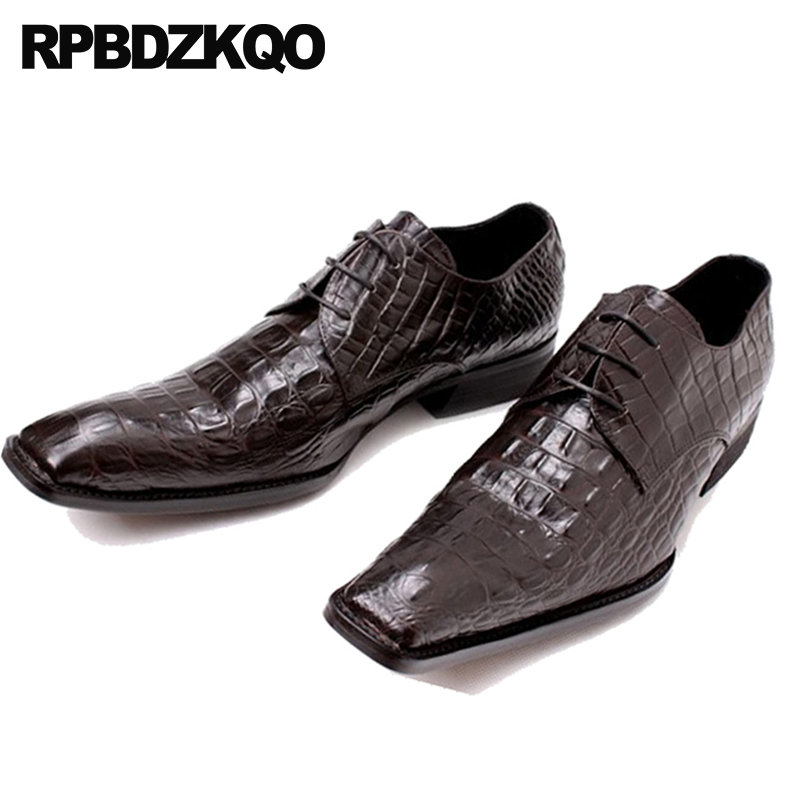 Shoes Pointed Toe Snake Skin Snakeskin Wedding Prom Men Rubber Sole Dress Shoes Python Leather Oxfords Alligator Crocodile Brogue