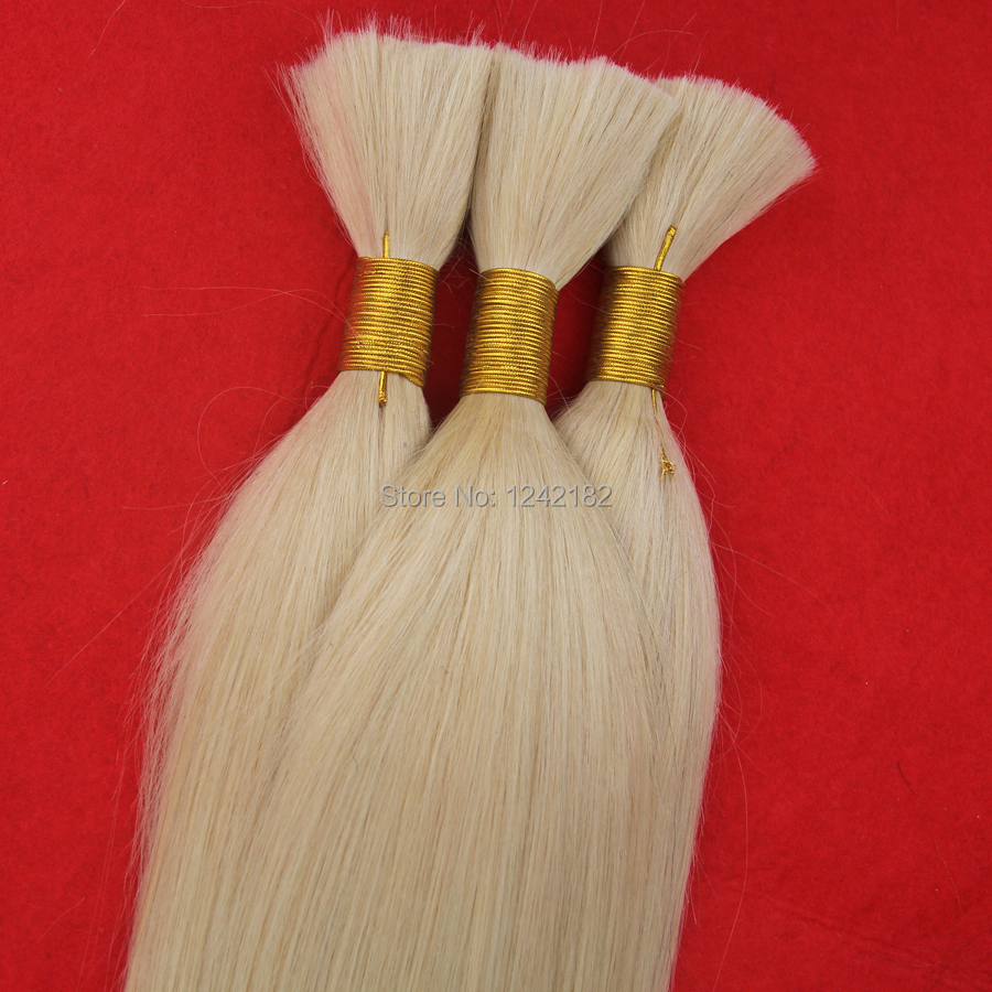 Remy Malaysian Virgin Hair Straight Human Hair Bulk For Braiding 7A Unprocessed Human Hair For Micro Braids #613 Bleach Blonde