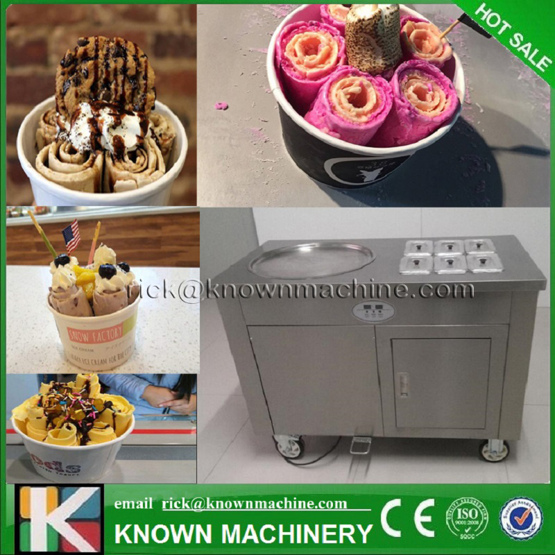 The CE Certified Stainless Steel 1+6 Big Pan Thailand Fry Ice Cream Roller Machine With R410A Refrigerant Free Shipping By Sea