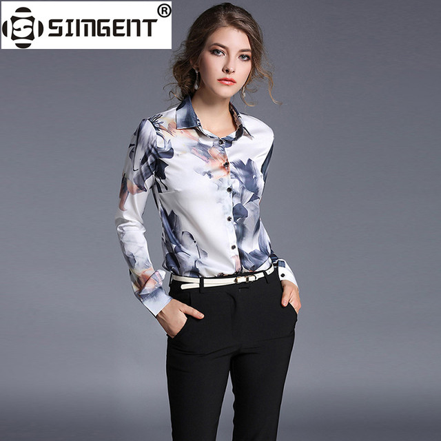 Simgent Elegant Tops 2018 Spring Long Sleeve Turn Down Collar Floral Print Office Casual Women's Blouses and Shirts Tops SG8153