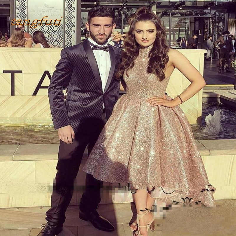 Hi Lo Sequined Evening Dresses Sleeveless High Collar Arabic Dubai Rose Gold Evening Dress Cocktail Party Gowns robes de