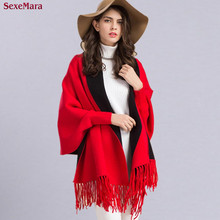 2016 Autumn Winter Causal Fashion New Loose Tassel Knitted Cashmere Batwing Women Long Thick Poncho Capes Duplex Shawl Cardigan