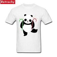 Custom Printed T Shirts Candy Cane Panda Couple Order White Short Sleeve T Shirts XXXL
