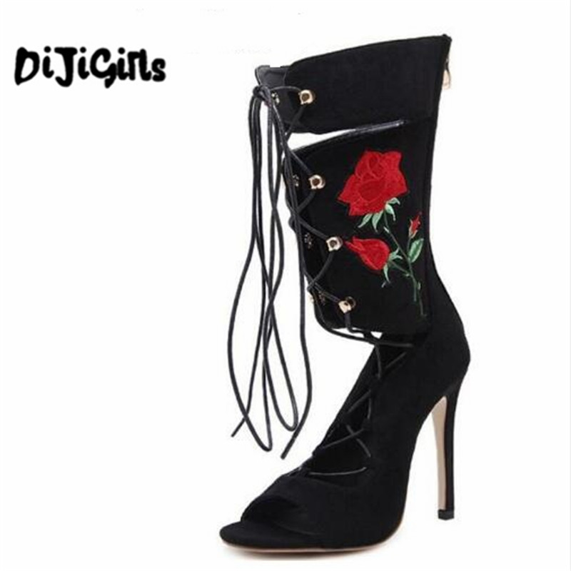 New Roman Embroider Gladiator High Heels Women Sandals Stiletto Booties Open Toe Strappy Lace Up zip Shoes Woman Boots british fashion sandals black white mixed color high heels shoes woman gladiator huarache open toe chaussure femme dress booties