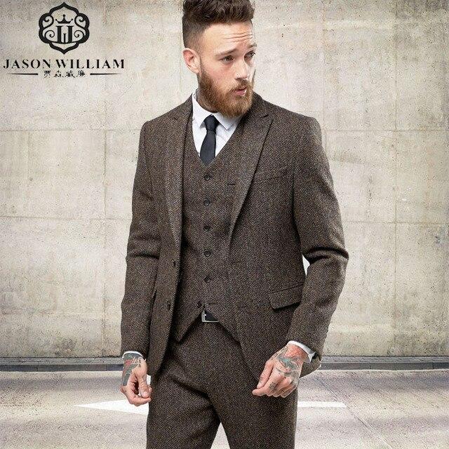 Ln021 Nach Tweed Blazer Manner Wolle Fischgraten Britischen Stil