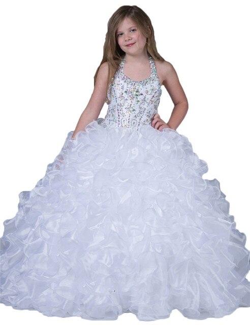 706587c46 2016 cristal Halter de lujo por encargo blanco primera comunión vestidos  con volantes niños pequeños niñas niños vestidos del desfile en Vestidos ...
