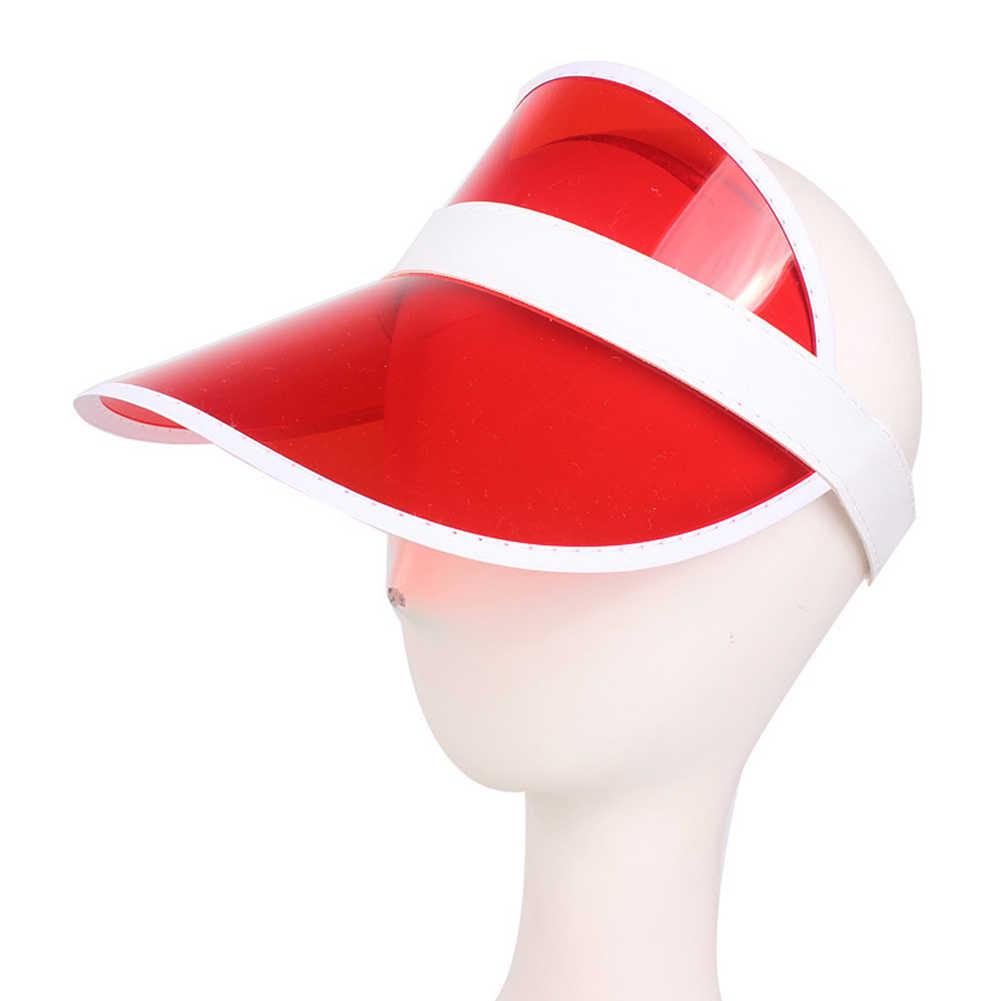 جديد أزياء الصيف في الهواء الطلق الرياضة قبعة الشمس فوق البنفسجية واضح البلاستيك قبعة بواقٍ للشمس