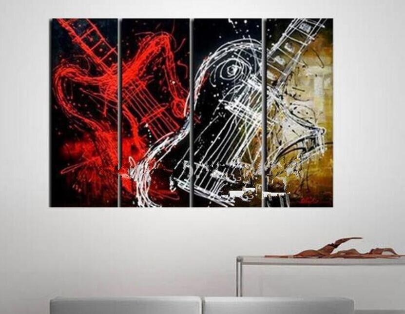 Hand Bemalt Abstrakten Lgemlde Auf Leinwand Wandkunst Bilder Fr Wohnzimmer Wanddekor Hngen Gemlde Musik Gitarre