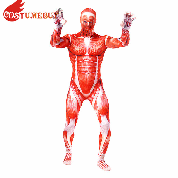 CostumeBuy Attack on Titan Colossal Titan Cosplay Costume Lycra Spandex Men Full Zentai Bodysuits Muscle Tight Suit Second Skin