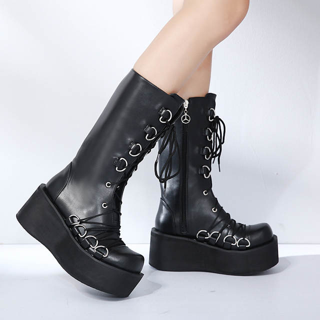 2615e9e4a15 Demonia Style Women Black Boots Casual Mid Calf Wedges Platform High Heel  Boots Punk Gothic Shoes