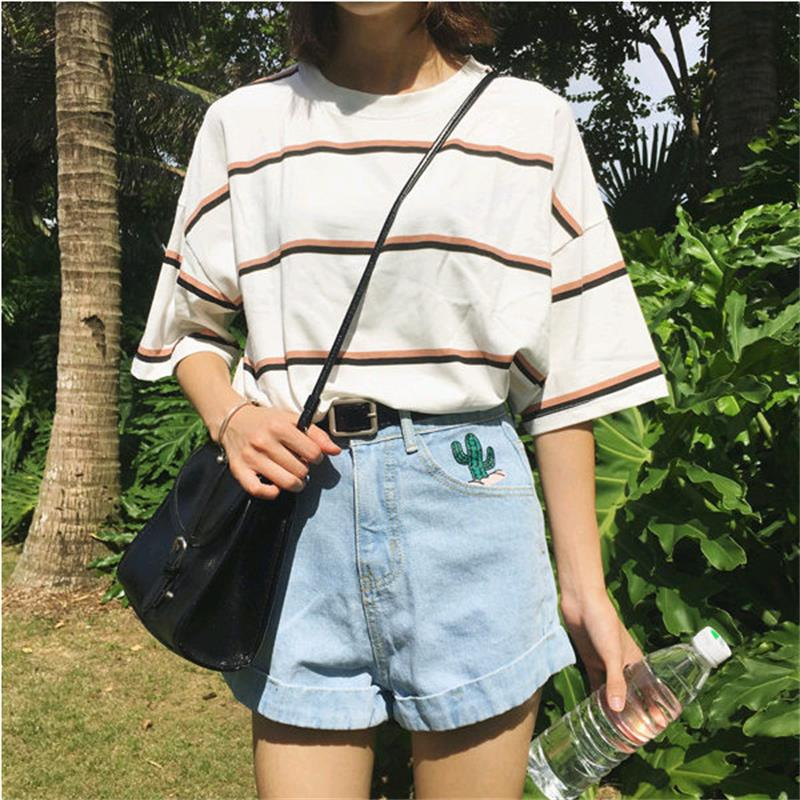 Frauen T-shirts Japan Harajuku Damen Ulzzang Student Sommer Flut Lose Streifen Top Weiblichen Koreanischen Kawaii Kleiden Für Frauen T-shirt