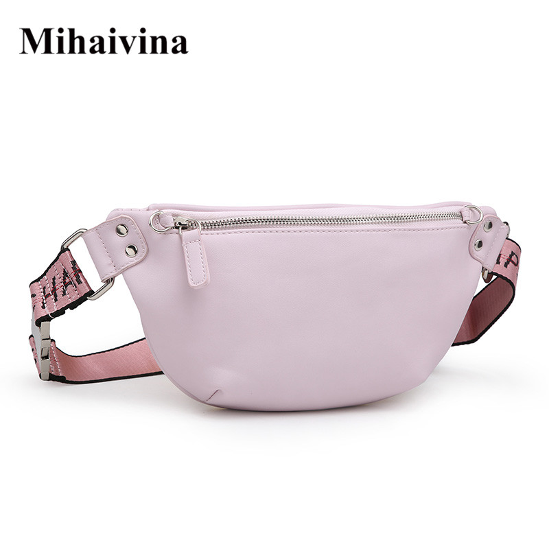 Mihaivina Fashion Women Bag Leather Waist Pack Femal Hip Bum Belt Bag Women's Waist Bags Pink Fanny Pack Chest Bags Bolosa цена