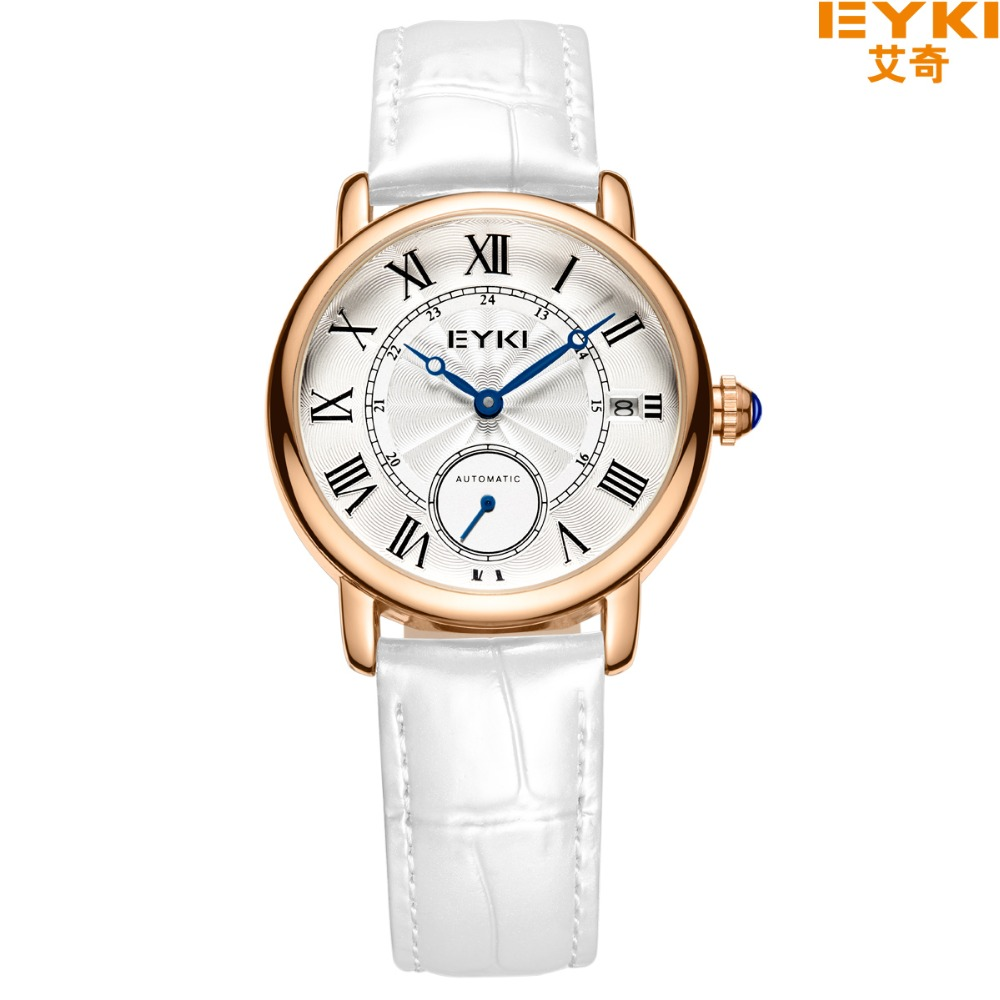 цены 2017 Time-limited Rushed Eyki Brand Fashion Woman Automatic Mechanical Watch Crystal Self-wind Leather Wristwatch Reloj Mujer