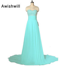 Real Sample Beadings Chiffon Women Sleeveless Sexy A Line Sleeveless Elegant Wedding Party Formal Gowns Long