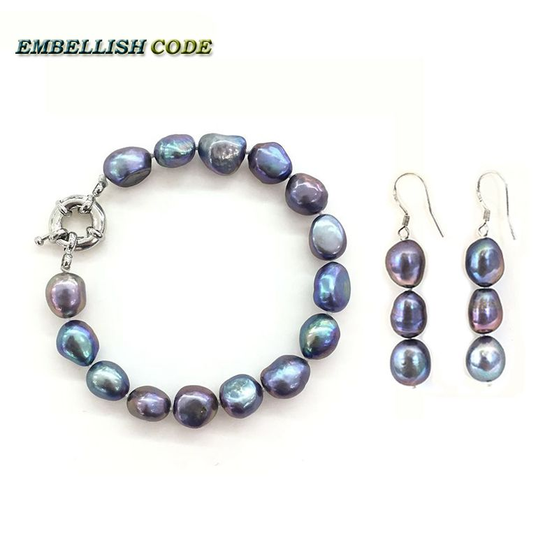 selling well semi baroque bracelet bangle hook dangle earring freshwater pearl set blue Colourful color Rainbow Lustrous lady