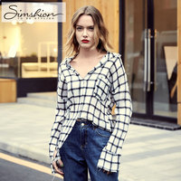 Simshion Women Fashion Loose Lattice Blouse Shirts Casual Long Sleeve Button Black White Plaid Shirts Oversize