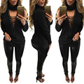 Casual Long Sleeve T-shirts Plus Size Female T shirts Sexy Lace Up Hollow Out Tops Turtleneck Women t shirt tee shirt femme 2017