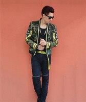 new 2018 Man Blazer Casual Suit Jacket Stage Costumes Men Bright Suit Jacket Bar Singer DJ DS Costume