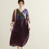 Summer New Arrivals Women Casual Loose Plus Size Floral Print Patchwork V neck Purple Comforable 100% Thin Ramie Long Dresses