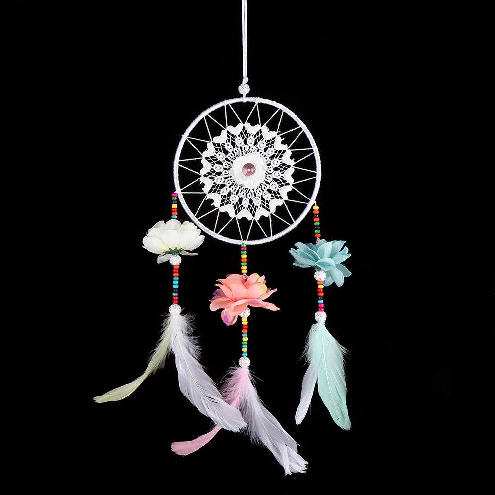 1 StÜck Handgemachte Blumen Dream Catcher Net Mit Bunte Feder Wand Hängen Ornament Zimmer Garten Dekoration äSthetisches Aussehen