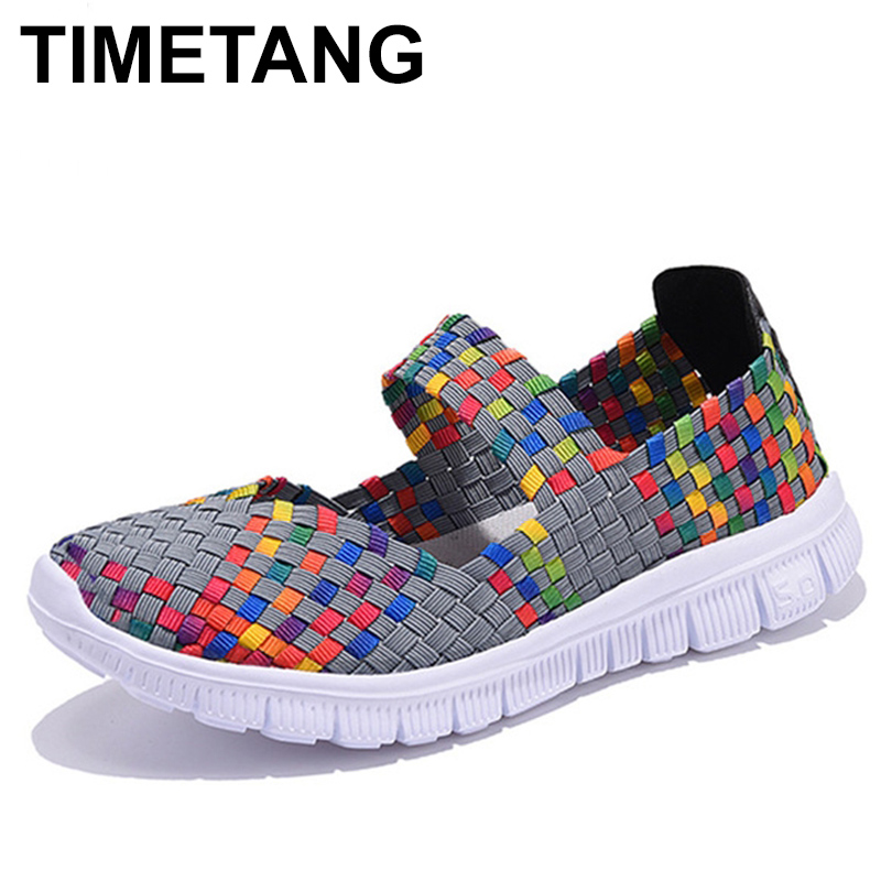 TIMETANG Women Casual Shoes Summer Breathable Handmade Women Woven Shoes Fashion Comfortable LightWeight Wovening Women C265