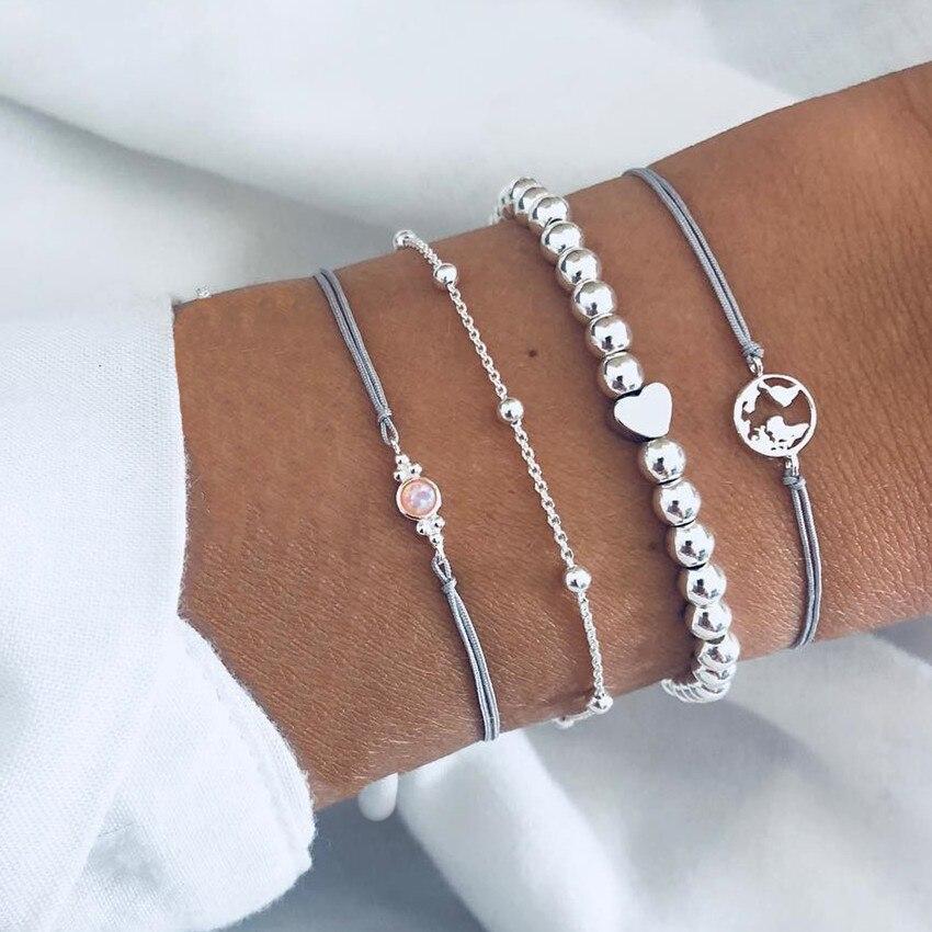Купить женский набор браслетов diezi ручной работы из серой веревки