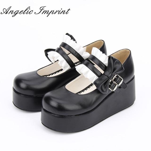 0ce26da6d68 Japanese Lolita Maid Cosplay Platform Heel Leather Shoes Sweet Lace Trim  Bowtie Princess Girl Mary Jane Shoes