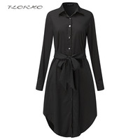 Spring Long Sleeve Blouse Shirt Dress With Belt Women Oversized Midi Dress Retro Tunic Casual Office