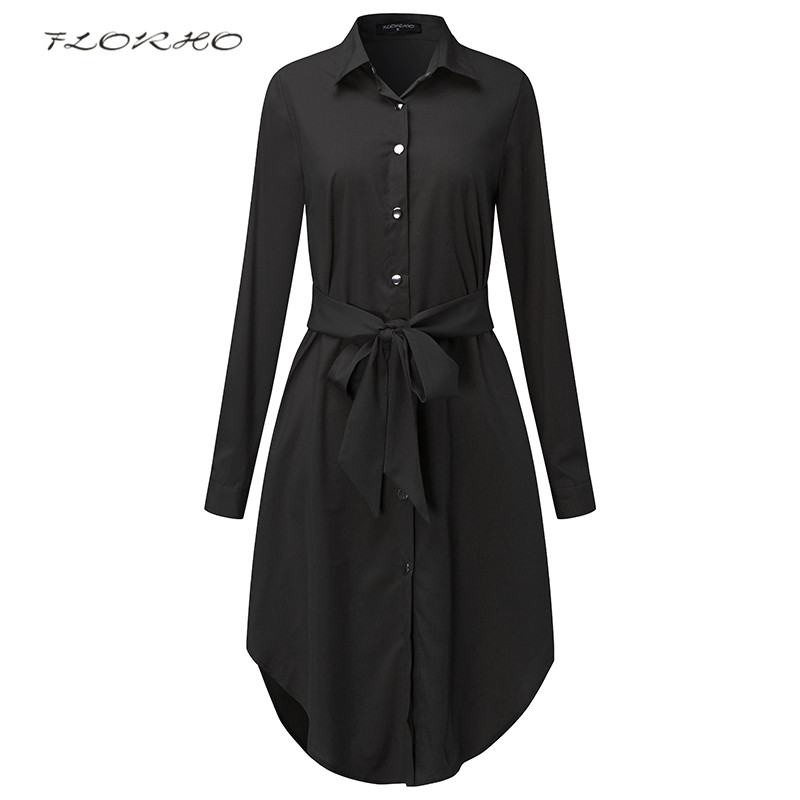 Spring Long Sleeve Blouse Shirt Dress With Belt Women Oversized Midi Dress Retro Tunic Casual Office Work Vestidos Plus Size 5XL ...