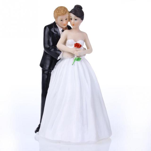 Lindo romántico divertido pastel de bodas Topper figura