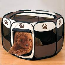 Portable Folding Pet Dog Tent Dog House Cage Dog Cat Tent Playpen Puppy Kennel Easy Operation Octagonal Fence Outdoor Supplies(China)