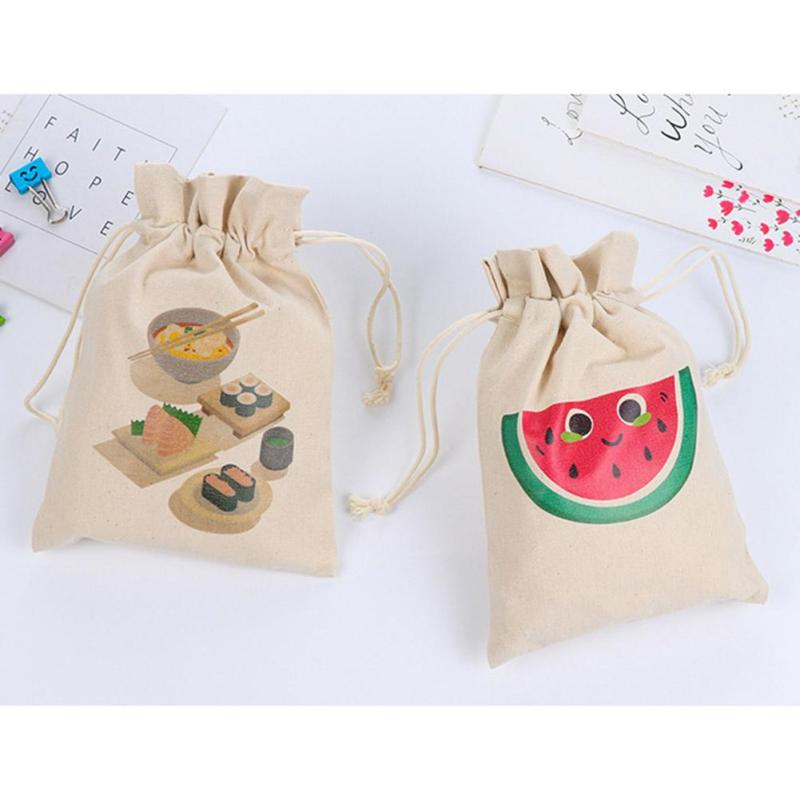 Mini Canvas Change Coin Purse Cute Cartoon Printed Drawstring Small Pouch for Teenage Gi ...