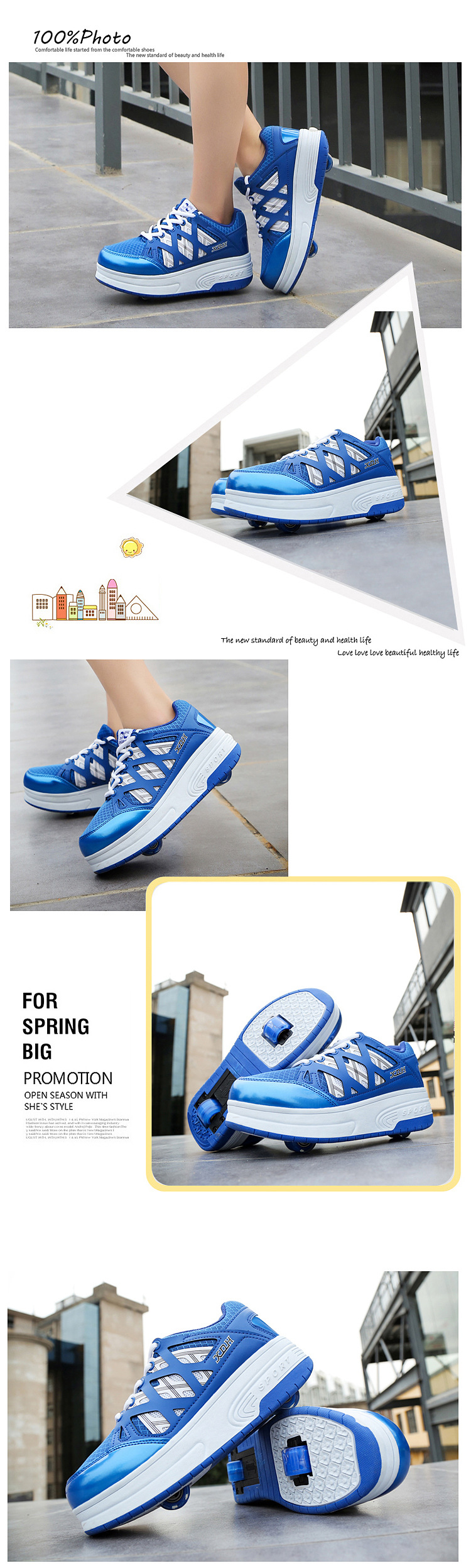 2018 New Boys Girls Heeky Sneakers with Wheels Kids Roller Skate Shoes Children Brand Fashion Wheels Shoes