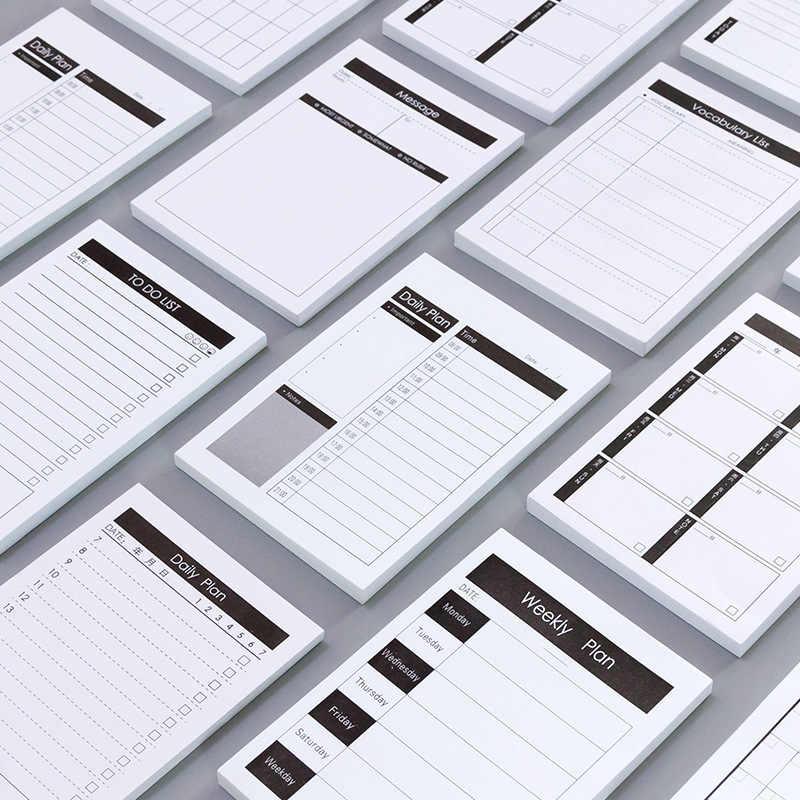 1Pc Kreatif Belajar & Rencana Kerja Kraft Kertas Memo Pad Kawaii Stationery Aksesori Kantor Sekolah untuk Melakukan Daftar