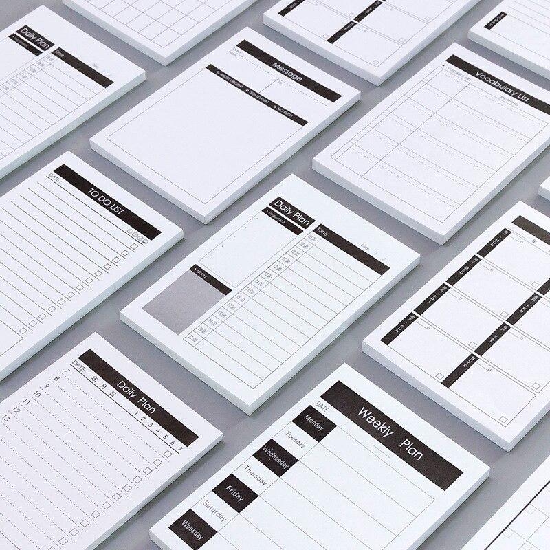 1pc criativo estudo e plano de trabalho kraft papel memorando almofada kawaii papelaria escritório acessório material escolar para fazer lista