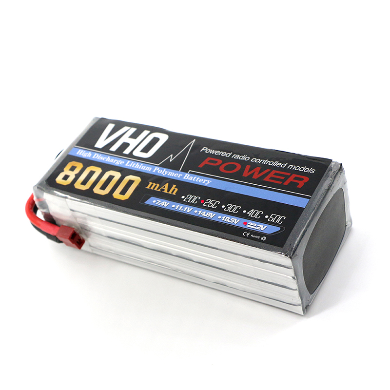 VHO 6S 22.2V 8000mAh 25C LiPo Battery Traxxas for RC Helicopter Airplane Car Boat Quadcopter Airplane drone Spare Parts 2pcs li polymer lipo battery 7 4v 300mah 30c for wltoys f959 rc airplane helicopter quadcopter drone spare toy parts