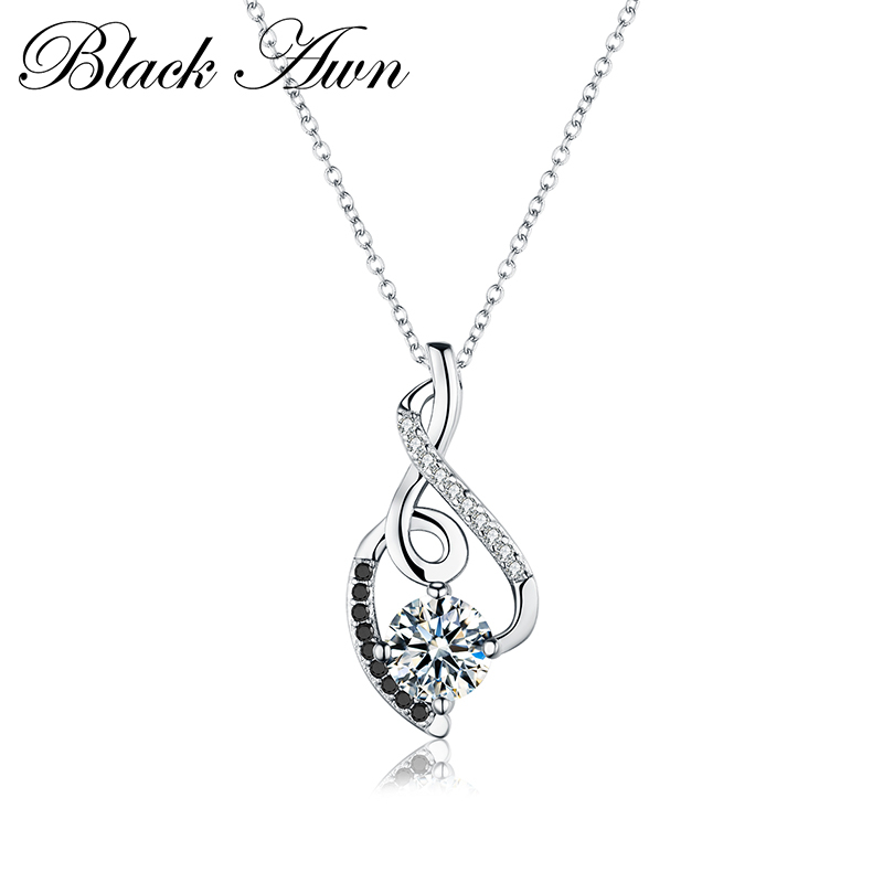 [BLACK AWN] Femme Genuine 100% 925 Sterling Silver Necklaces Pendants Jewelry Black&White Stone Necklace Women Bijoux P081[BLACK AWN] Femme Genuine 100% 925 Sterling Silver Necklaces Pendants Jewelry Black&White Stone Necklace Women Bijoux P081