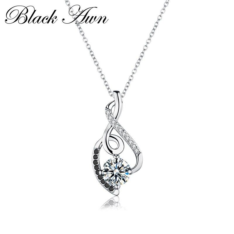 [BLACK AWN] Femme Genuine 100% 925 Sterling Silver Necklaces Pendants Jewelry Black&White Stone Necklace Women Bijoux P081