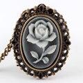 Белая Роза Цветок Бронзовый Ретро Карманные Ожерелье Часы женские Подарки P61