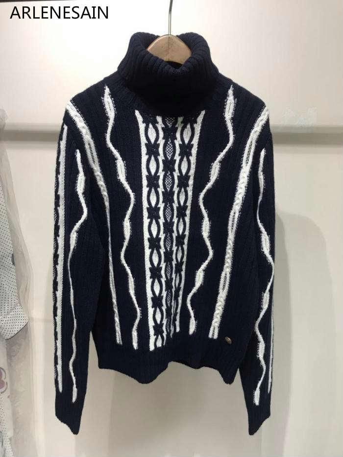 Arlenesain personnalisé Automne et d'hiver nouvelle argent tordu corde pur laine femmes chandail